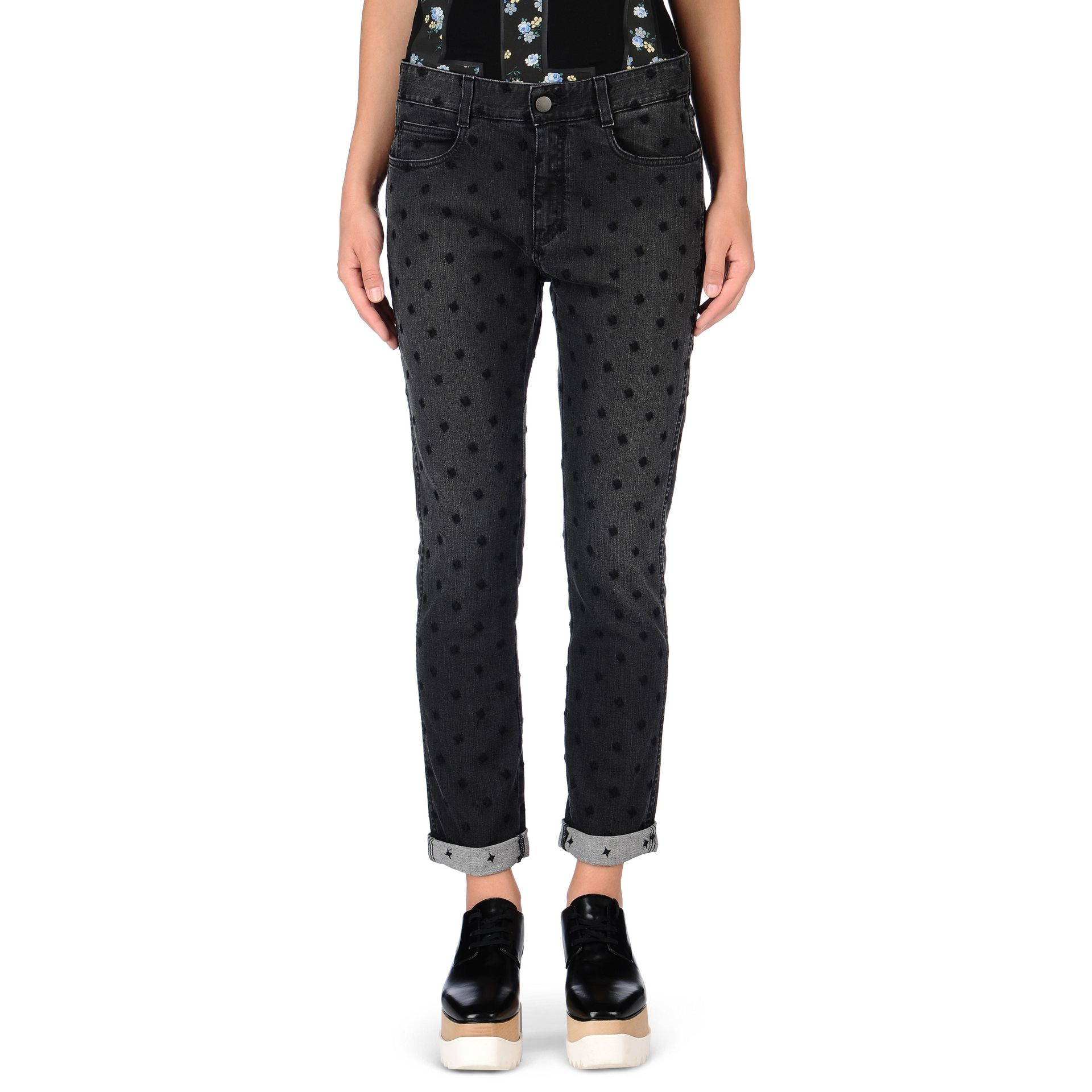 Stella mccartney Skinny Boyfriend Black Star Jeans in Black | Lyst