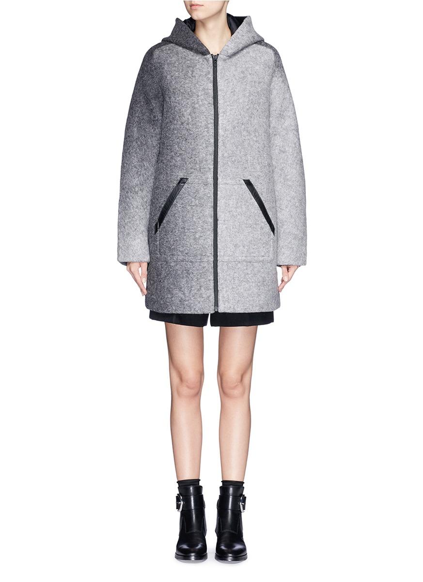 T by alexander wang Horizon Stripe Hooded Felted Wool Coat in Gray ...