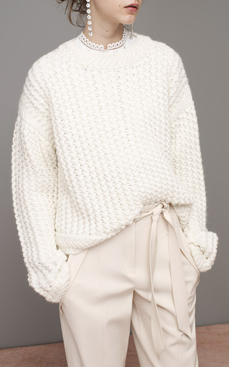 Rebecca taylor Soft Spun Pullover Sweater in White | Lyst