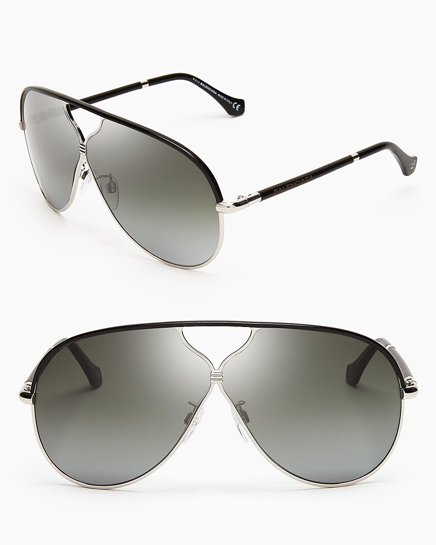 bd3f0c255 Balenciaga Leather Aviator Sunglasses in Black - Lyst
