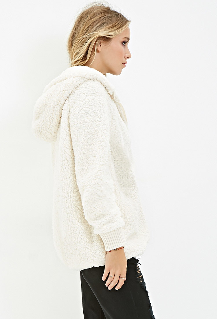 Lyst - Forever 21 Hooded Faux Shearling Jacket in Natural 7fd3cf894