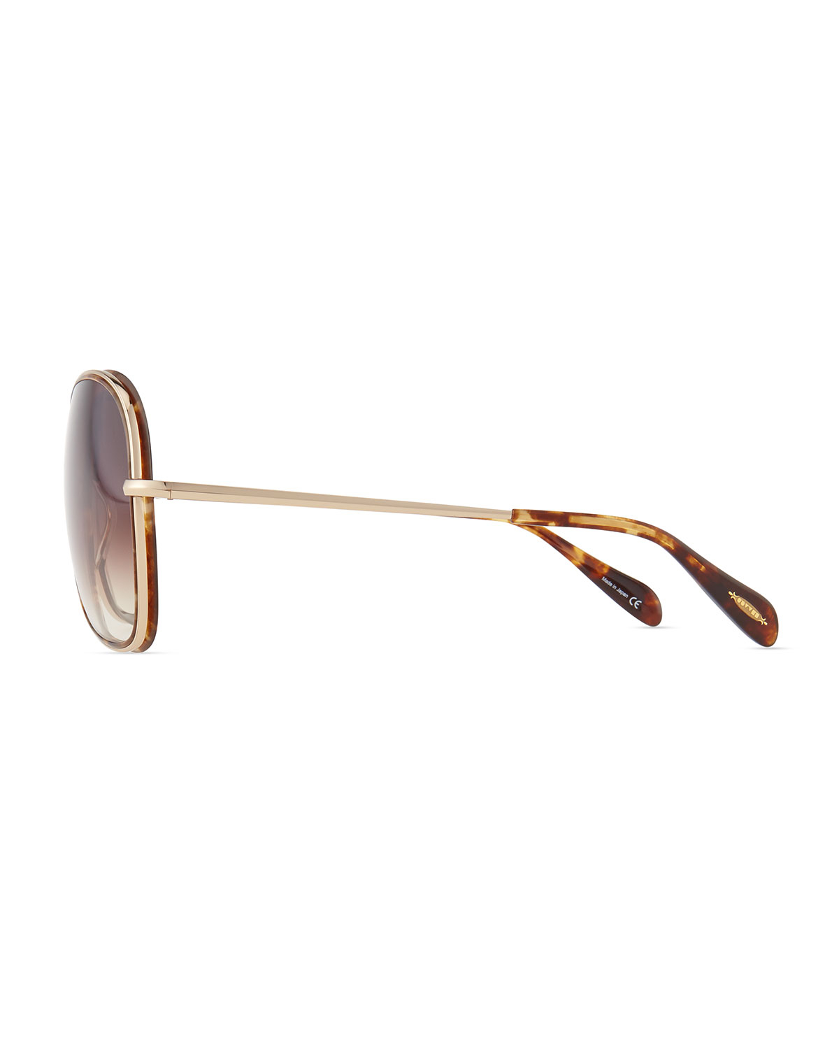 Oliver Peoples Emely Sunglasses  oliver peoples emely round enamel metal sunglasses brown in black