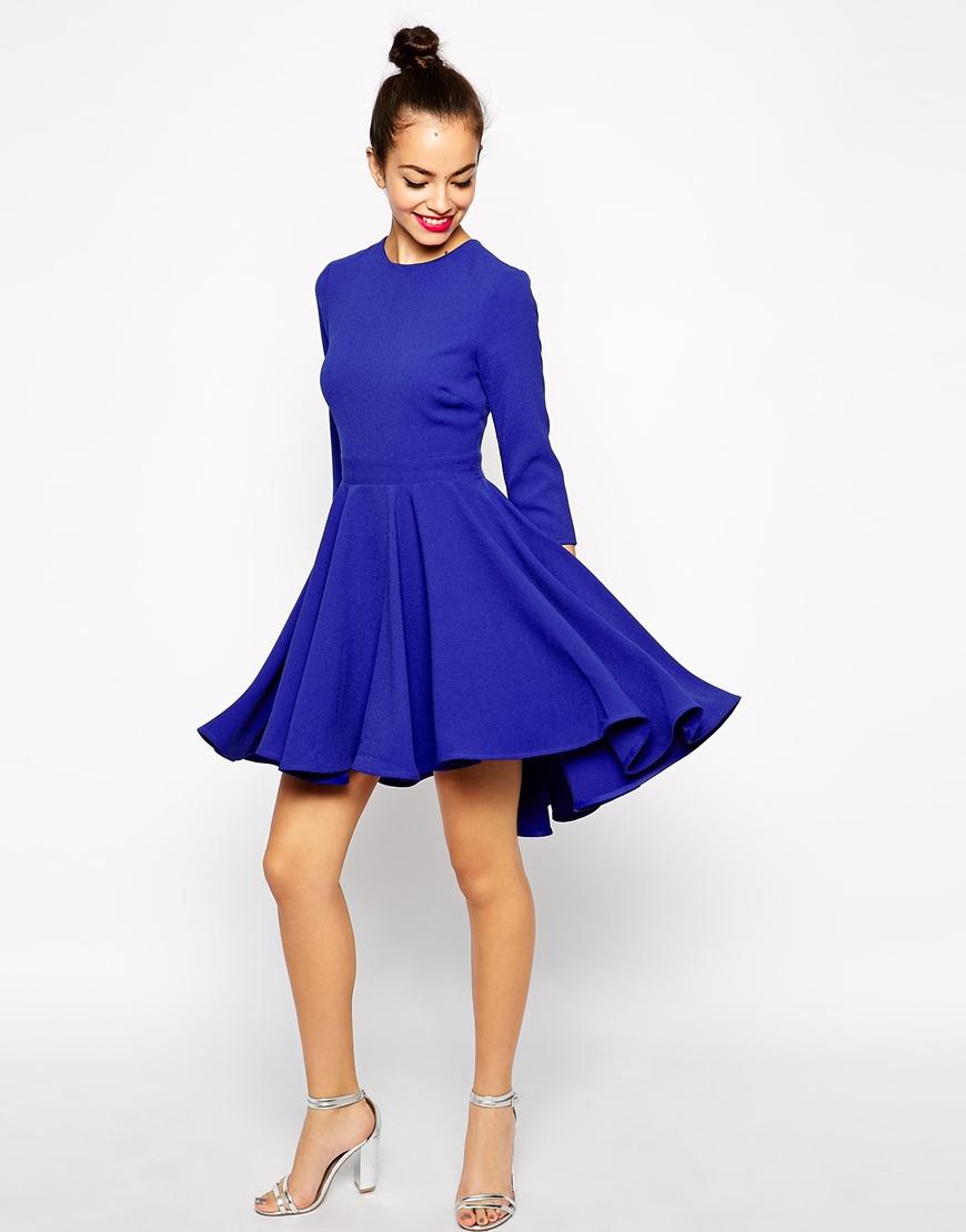 Lyst - ASOS Skater Dress With Full Dipped Hem Skirt And 3 4 Sleeve ... cd6b88f81