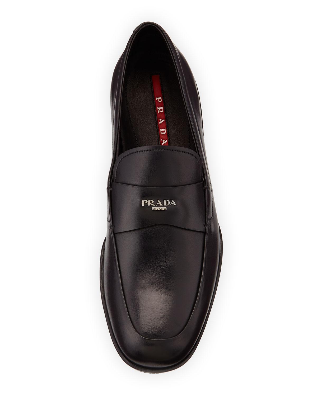 Prada Calfskin Logo-strap Rubber-sole Loafer in Black for ...