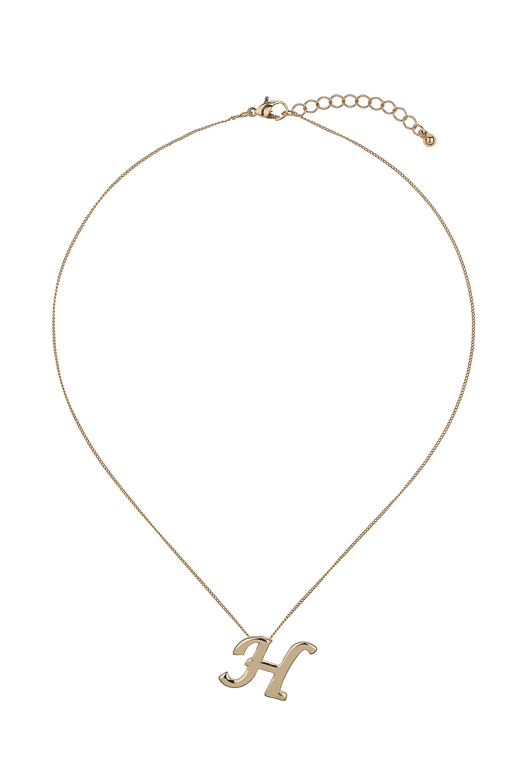 Topshop H Initial Necklace In Metallic Lyst