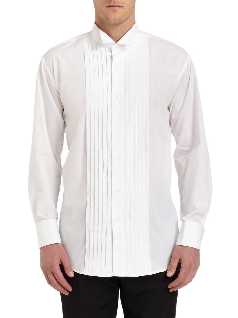 Ike behar tuxedo collar formal cotton shirt in white for for Tuxedo shirts for men
