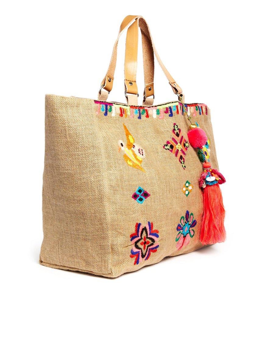 Lyst star mela zelma embroidered bag in natural