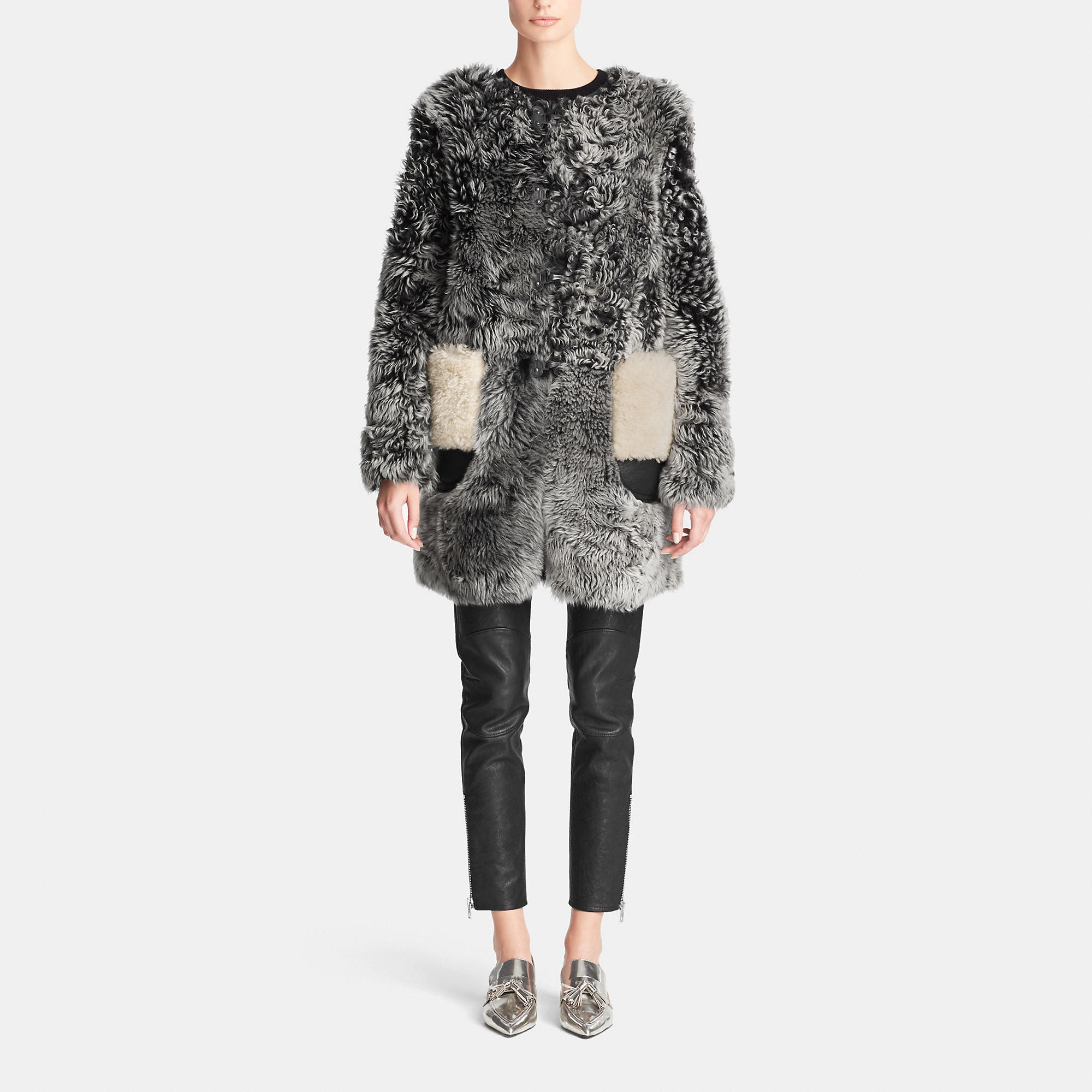 Coach Curly Shearling Coat in Gray | Lyst