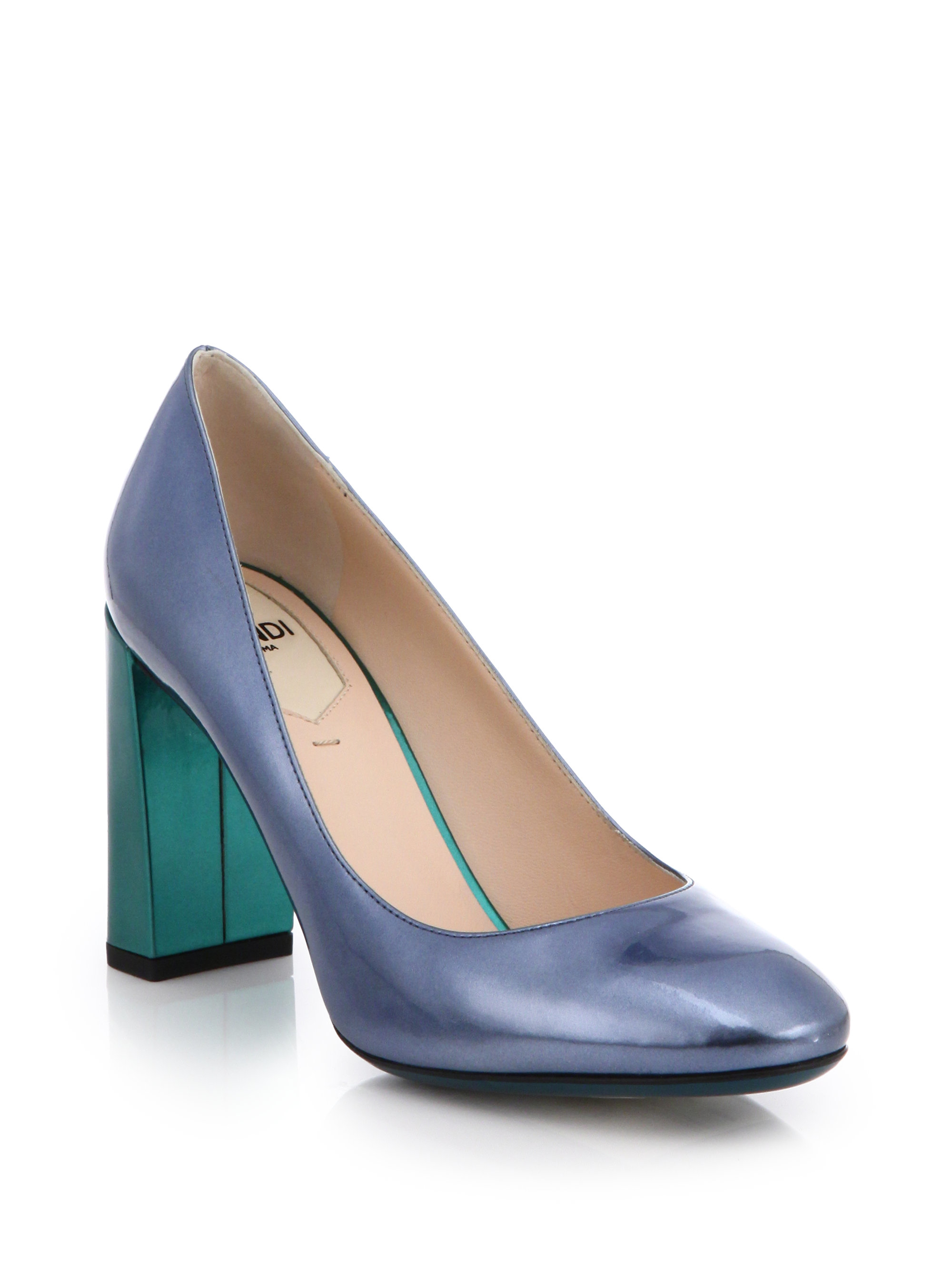 Lyst Fendi Two Tone Metallic Patent Leather Pumps In Blue