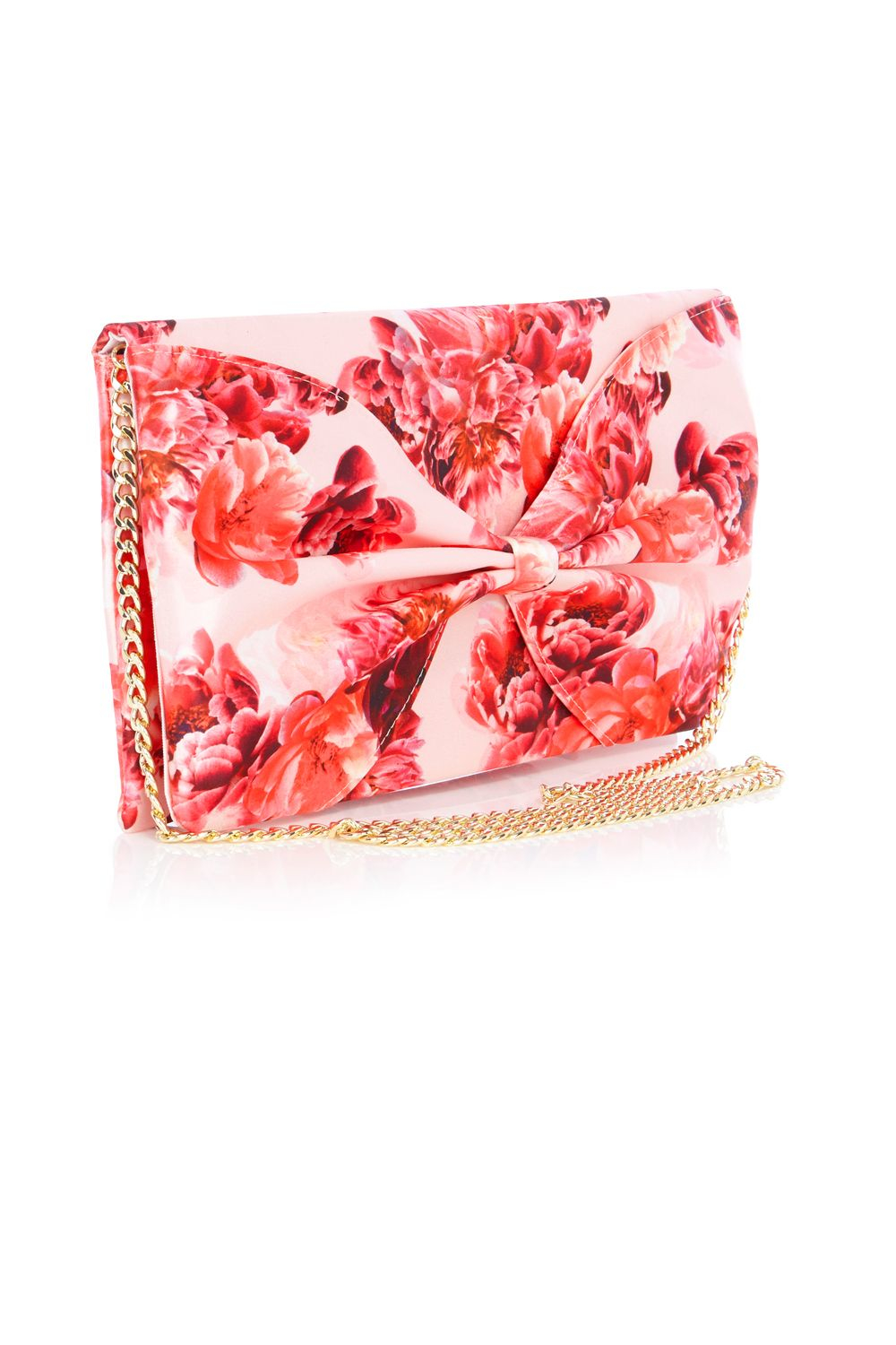 Coast Printed Bow Clutch Bag in Red