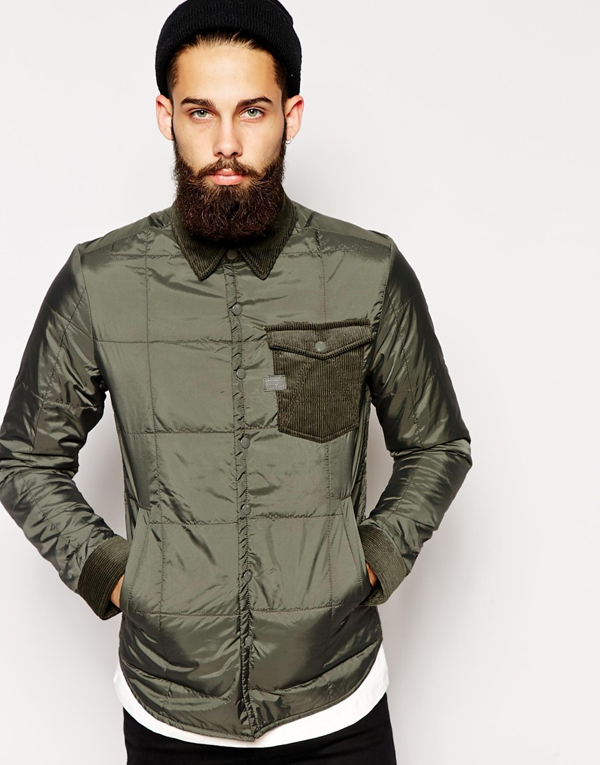 G-star raw G Star Overshirt Jacket A Crotch Padded Nylon in Gray ...