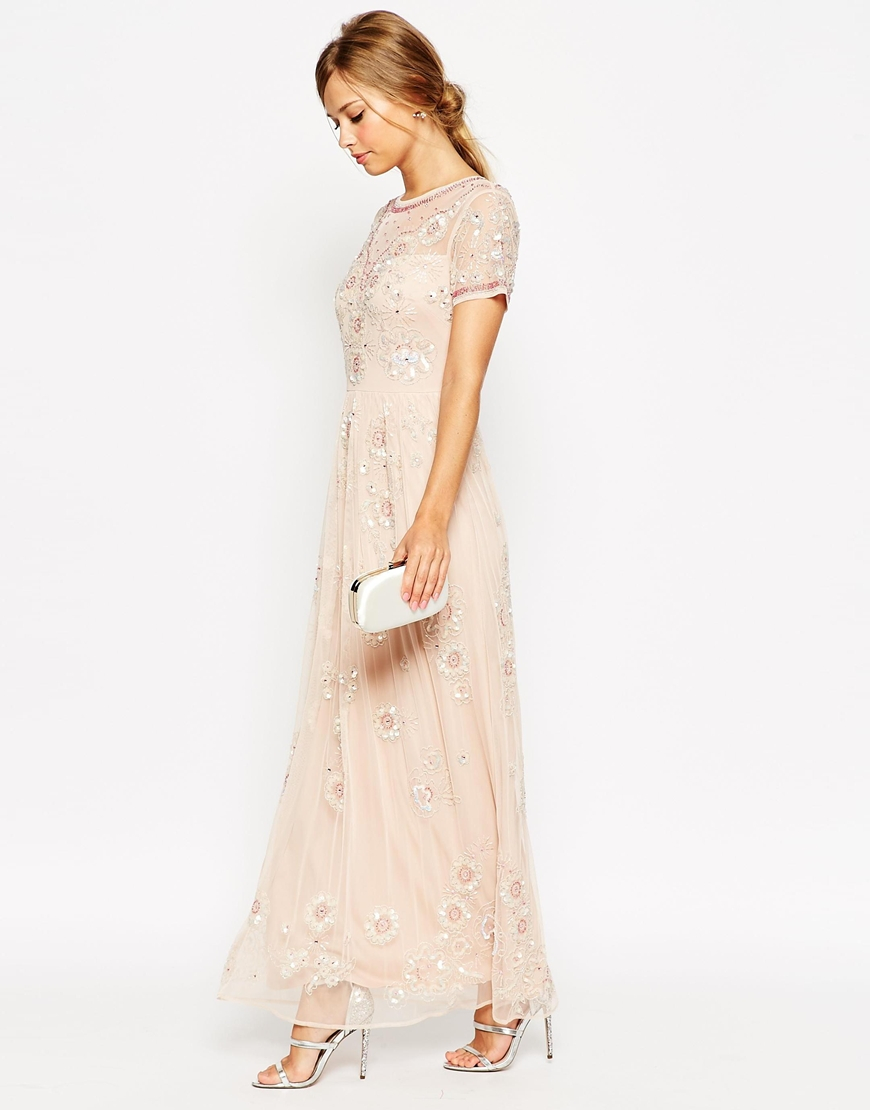 Lyst Asos Salon Beaded Floral Mesh Maxi Dress In Pink