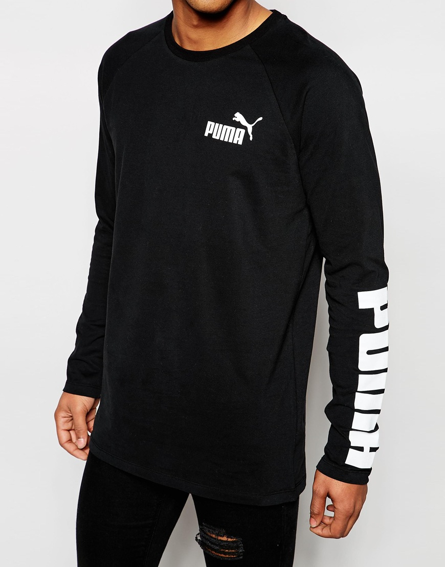 puma long sleeve tshirt in black for men lyst