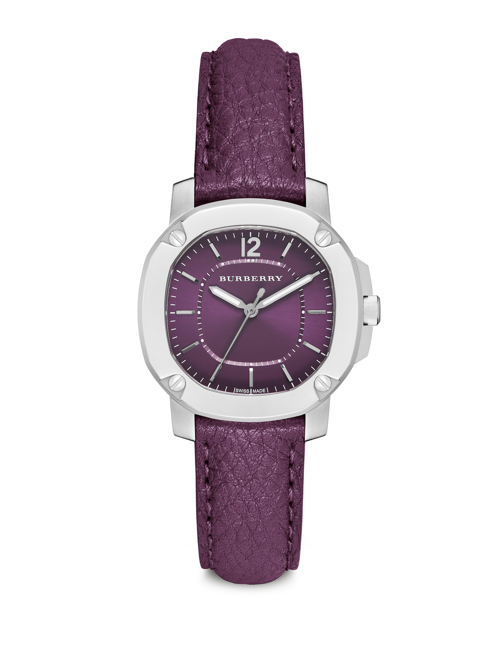 burberry britain stainless steel leather strap watch elderberry in purple lyst
