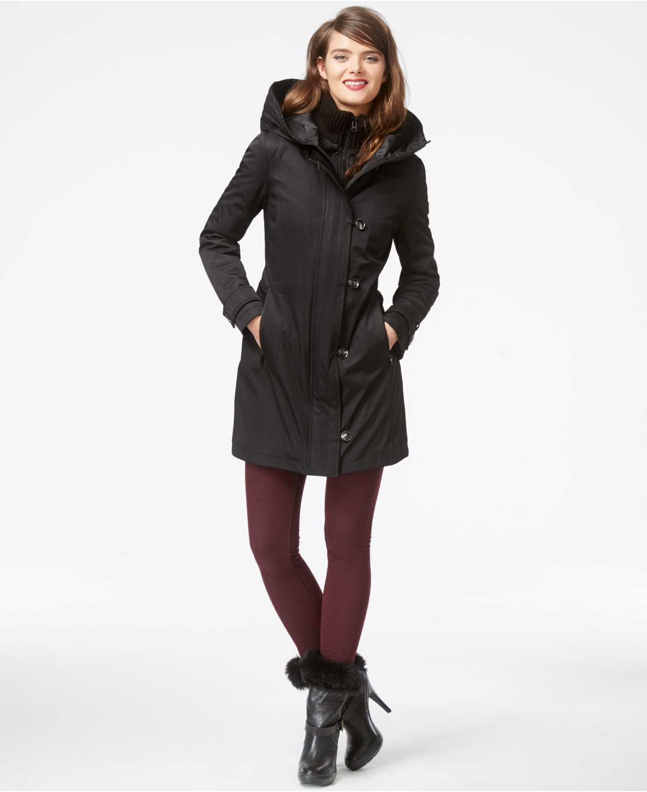 Lyst Kensie Quilted Parka Jacket In Black