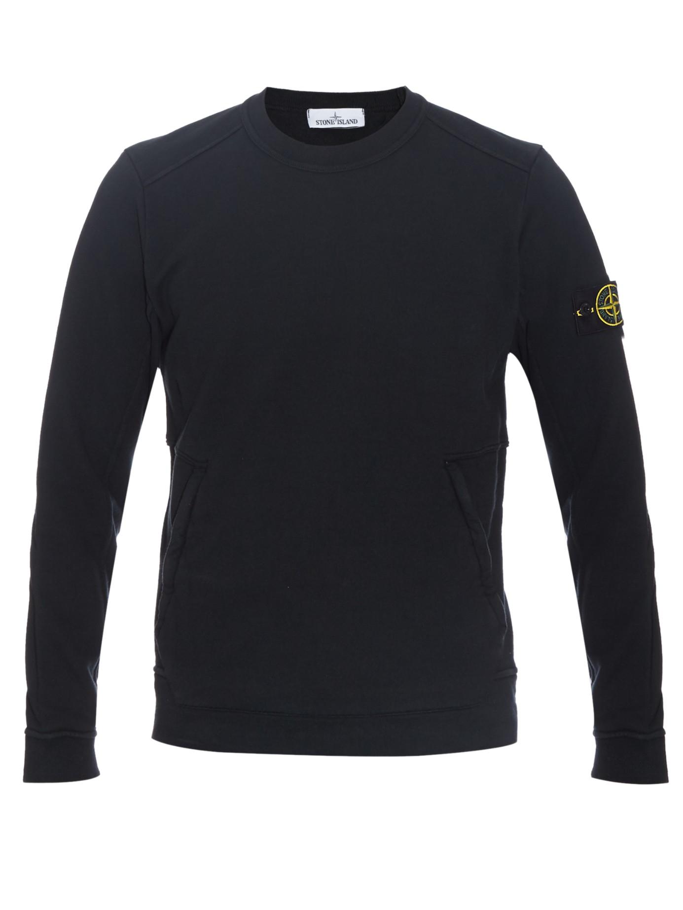 Stone island Logo-print Cotton-jersey Sweater in Black for Men | Lyst