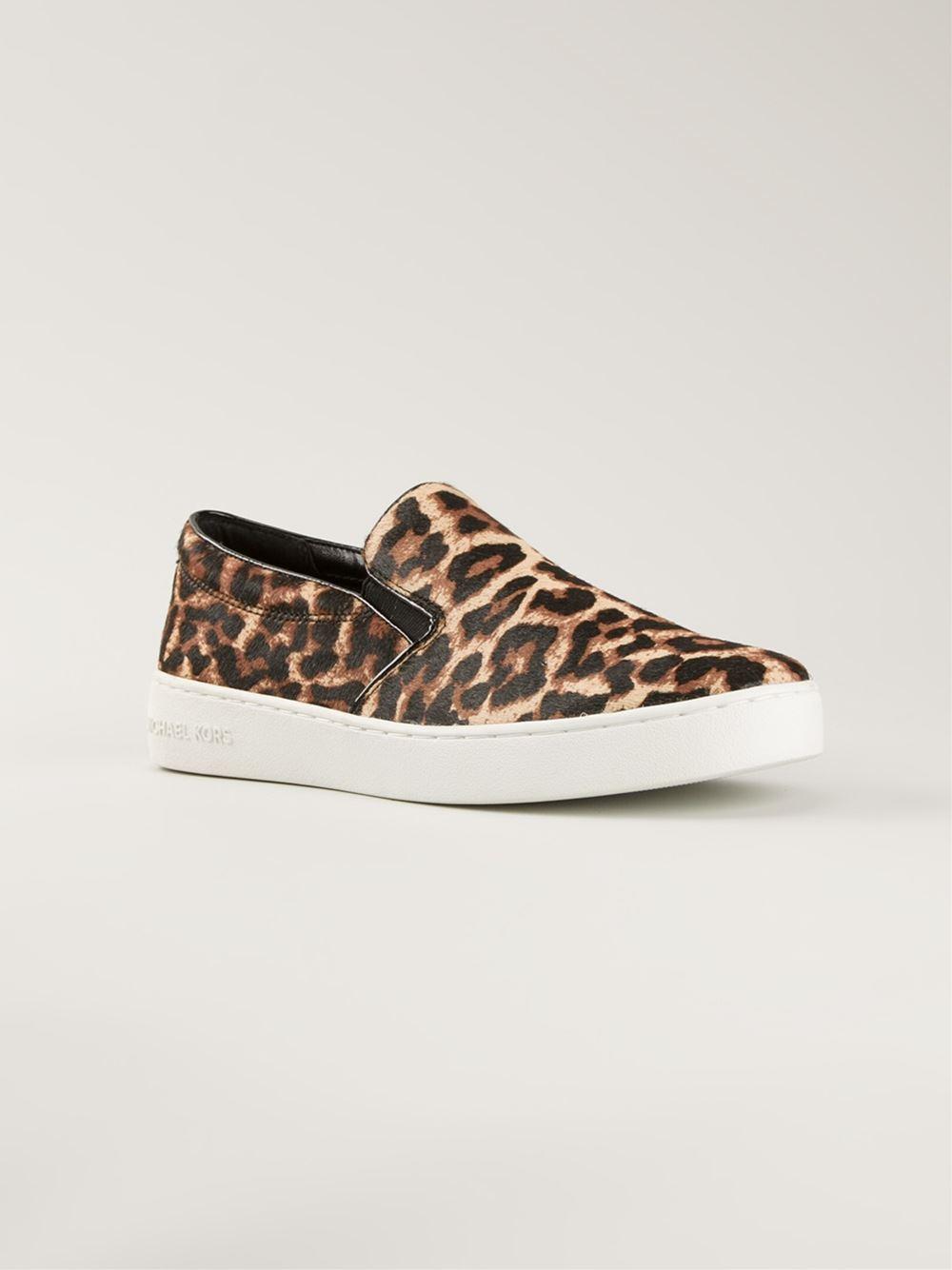 0c84ee6ca886 Lyst - Michael Kors Keaton Leopard Print Slipon Sneakers in Black