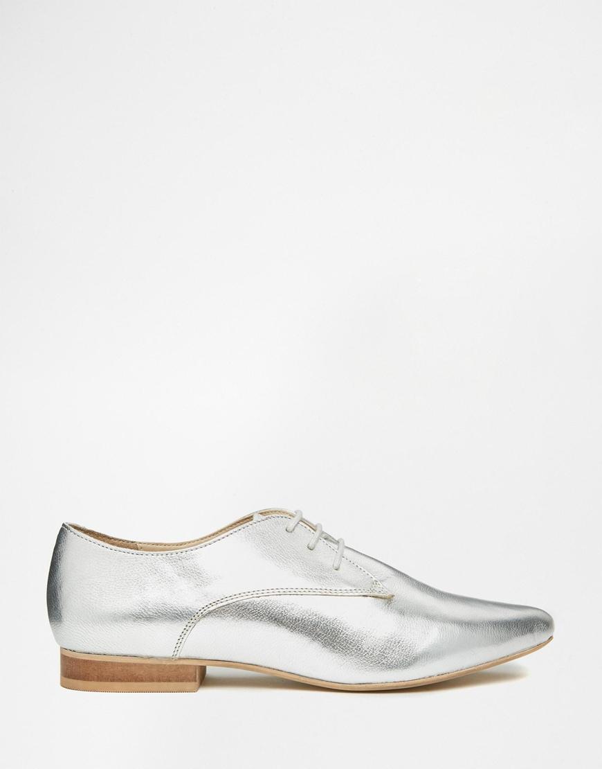 asos mara leather pointed flat shoes in metallic lyst