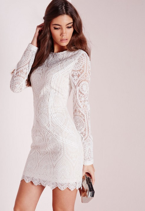 Lyst - Missguided Lace Long Sleeve Bodycon Dress White/nude In White