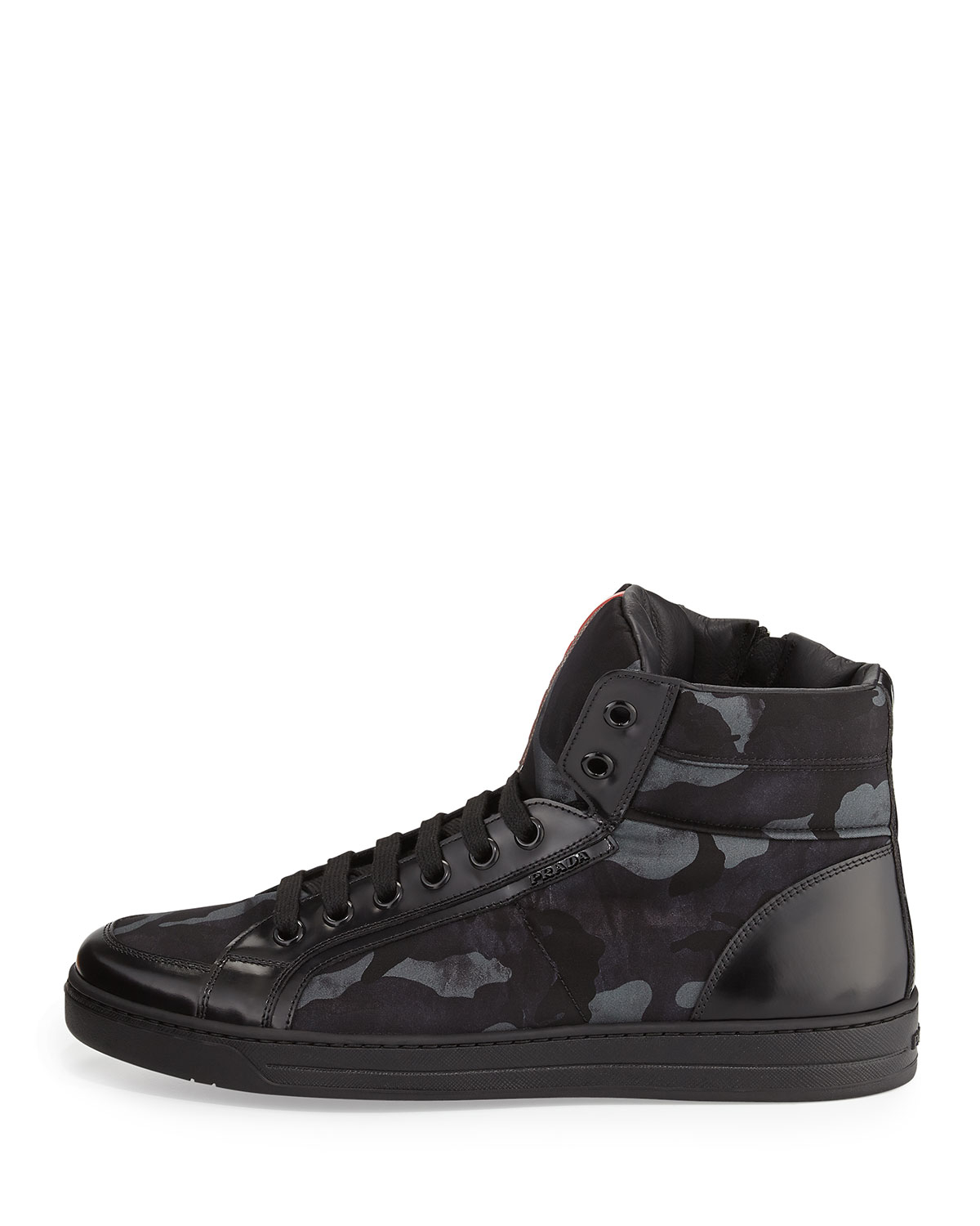 a90aae4aa24f1 Camouflage Black Print In For Men Top Prada Lyst Sneakers High 1Egqx5qw0