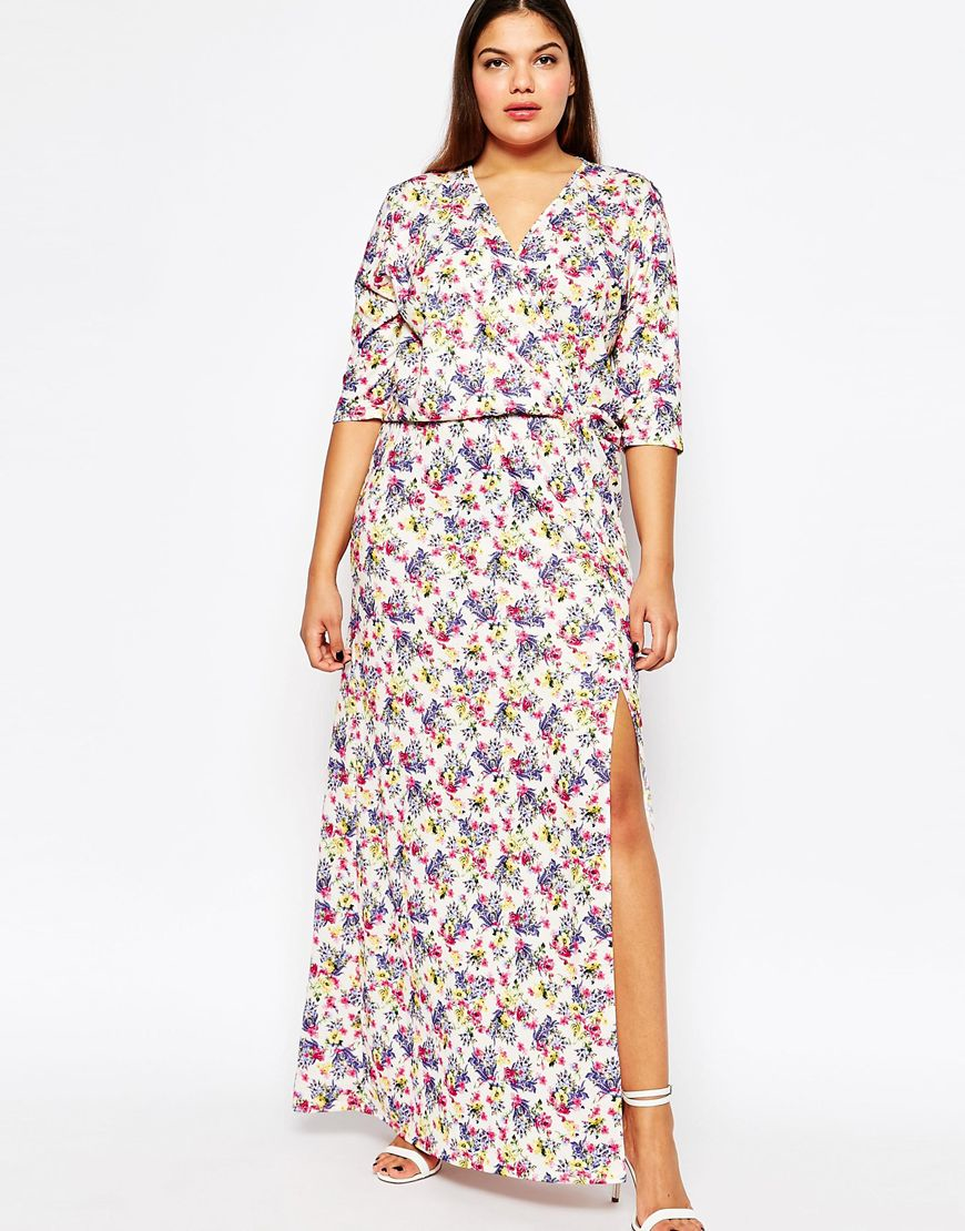 Lyst Club L Plus Size Maxi Dress With Wrap Front In Ditsy Floral Print