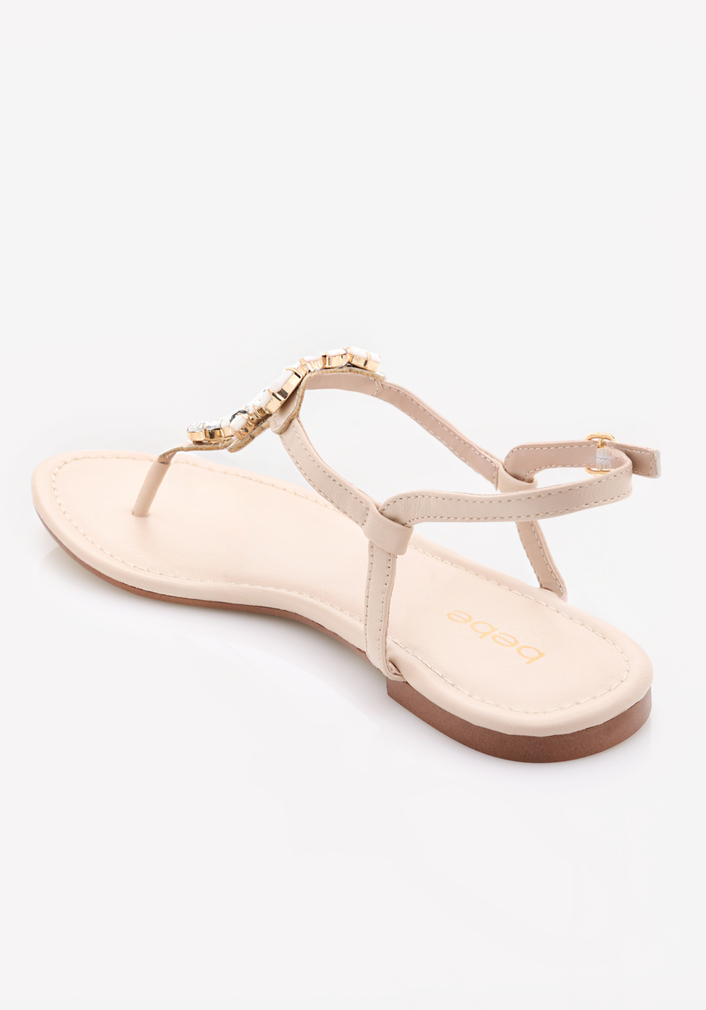 06db24061c1f9c Lyst - Bebe Shaya Jeweled Flat Sandals in Pink