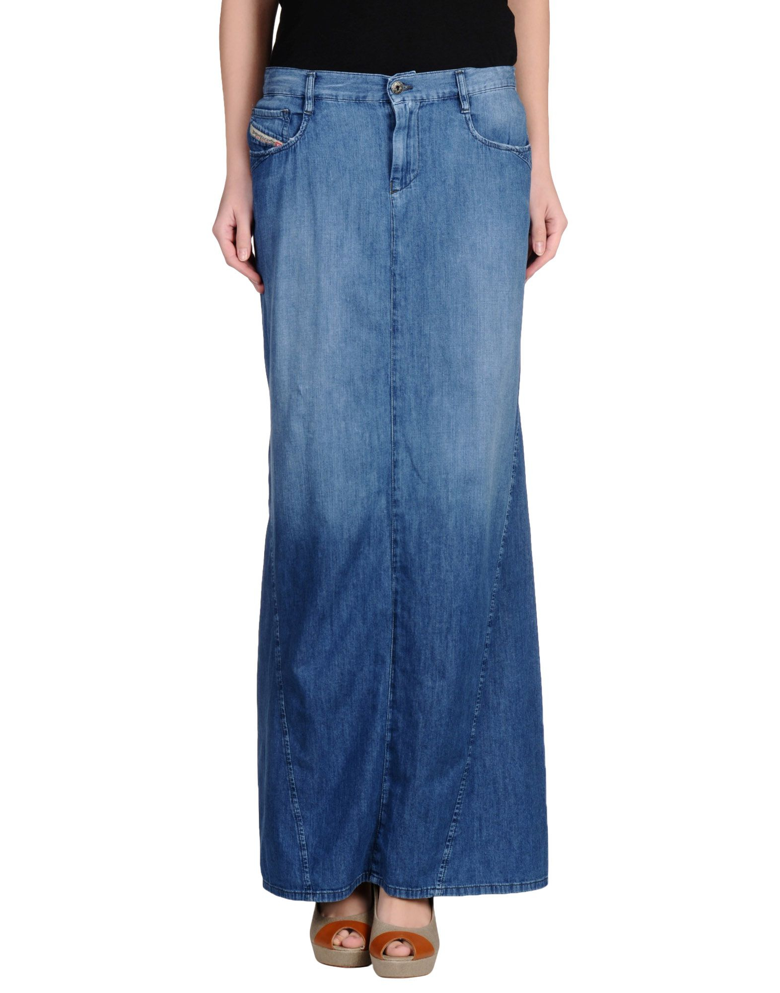 diesel denim skirt in blue lyst