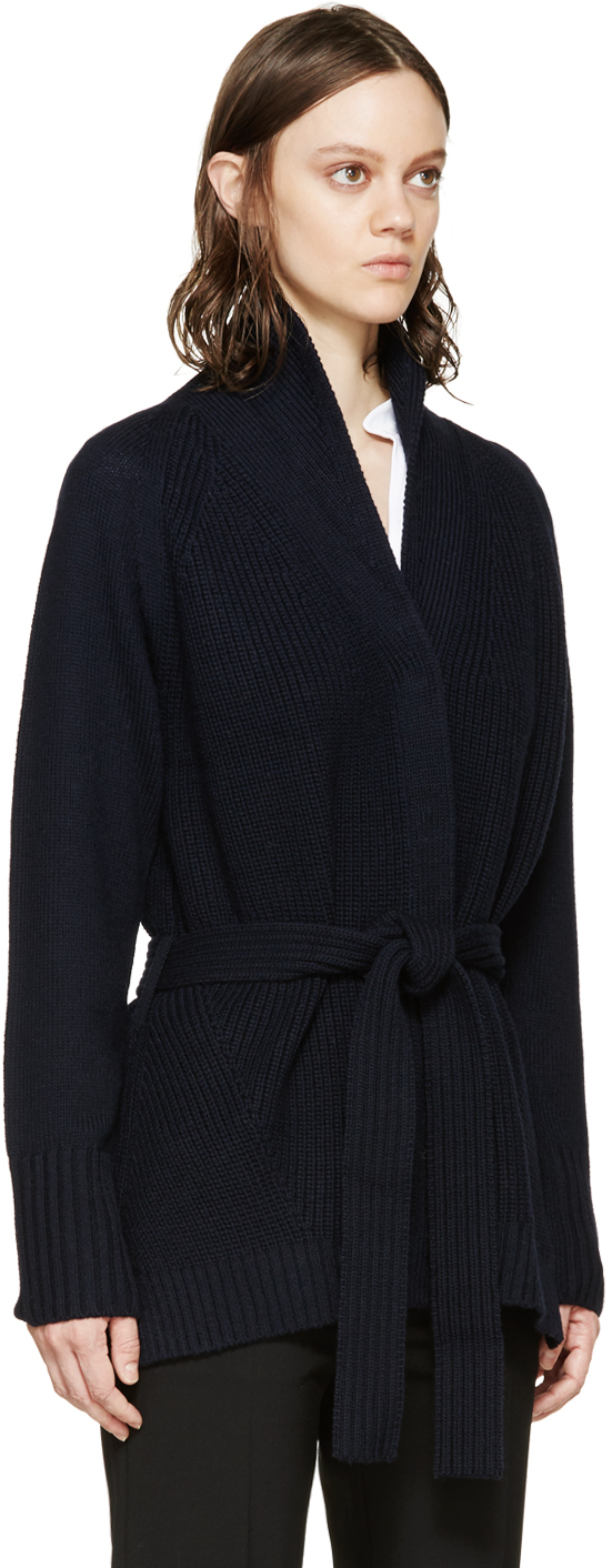 3.1 phillip lim Navy Belted Cardigan in Blue | Lyst