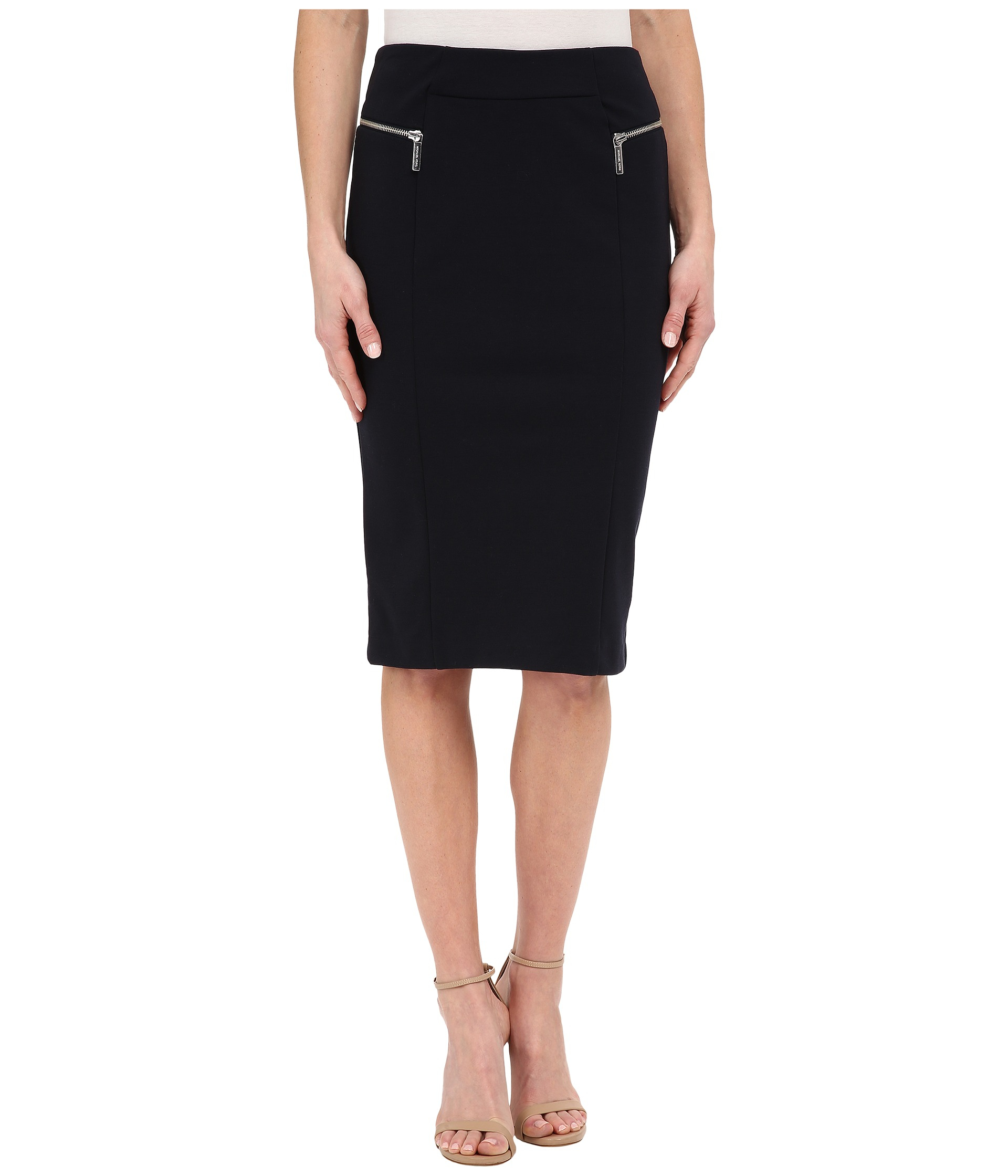 Michael michael kors Zip Pointe Long Pencil Skirt in Blue | Lyst