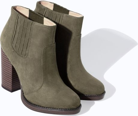 zara trf high heel ankle boot in green khaki lyst