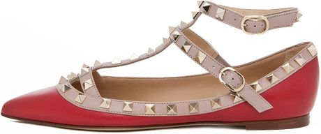 Valentino Rockstud Leather Ballerina Flats in Red