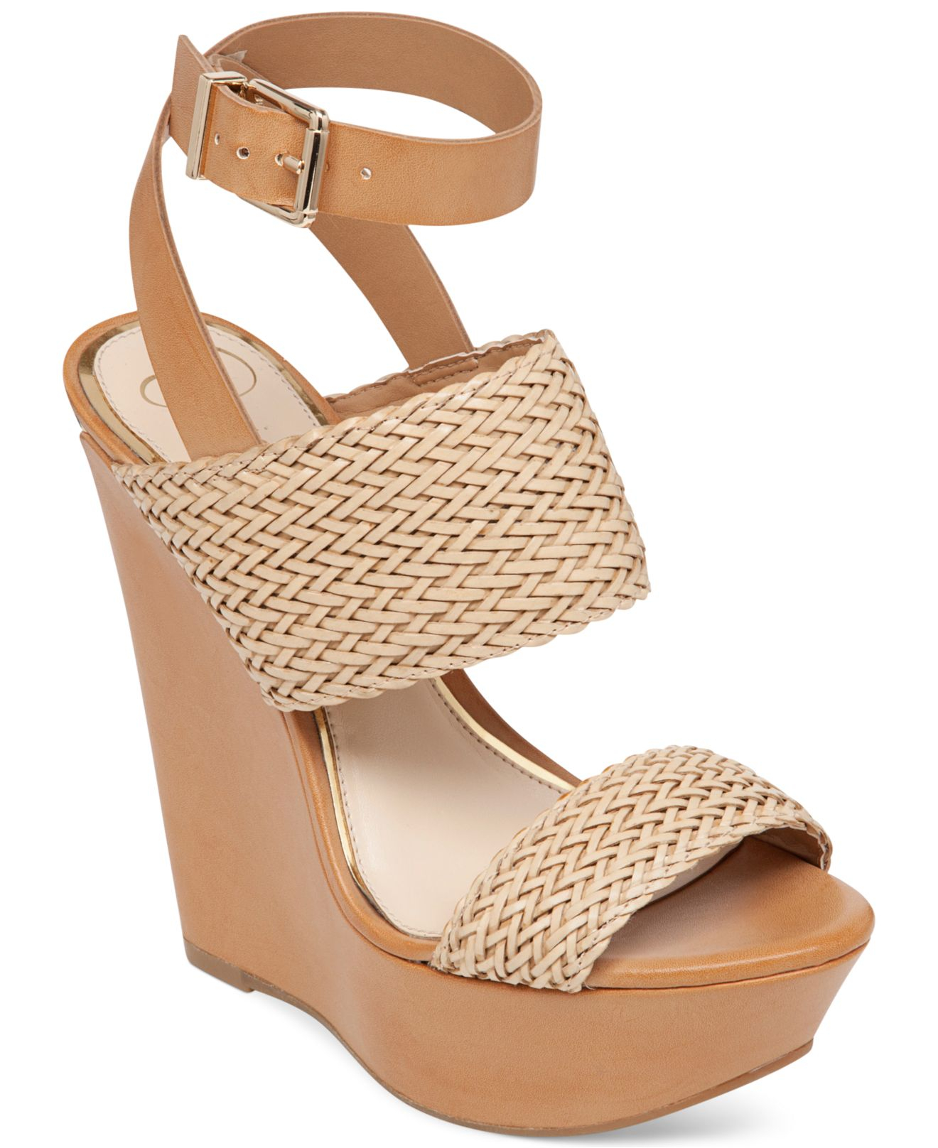 d5299c4d814 Lyst - Jessica Simpson Eila Two-piece Woven Platform Wedge Sandals ...
