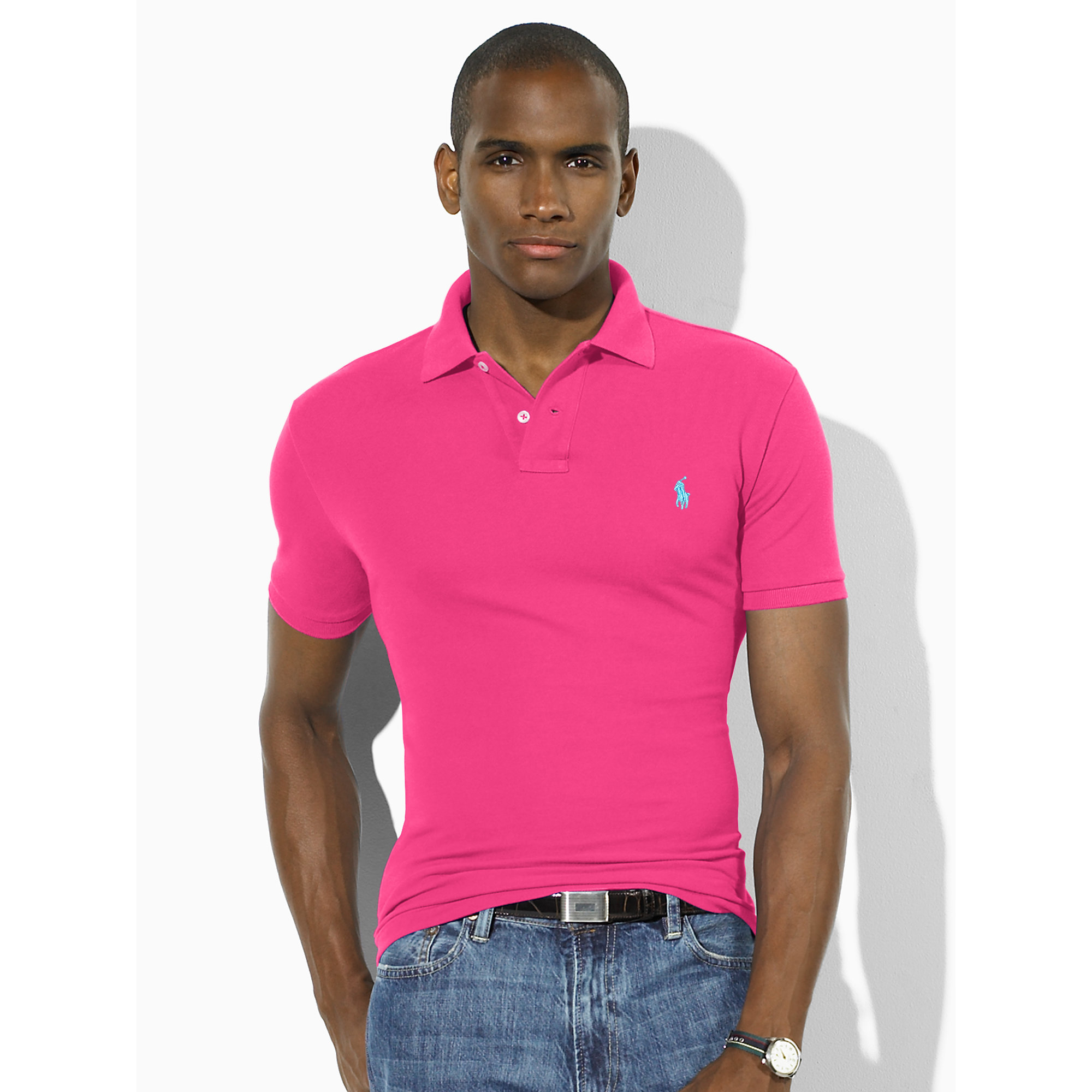 297e526952653 ... authentic lyst polo ralph lauren slim fit mesh polo shirt in pink for  men cdcc5 a537e