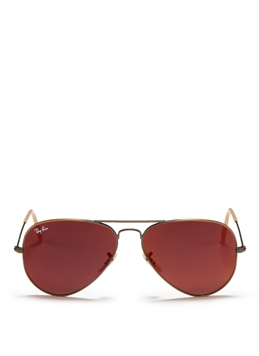 Ray ban 39 aviator large metal 39 mirror sunglasses in red lyst for Mirror sunglasses