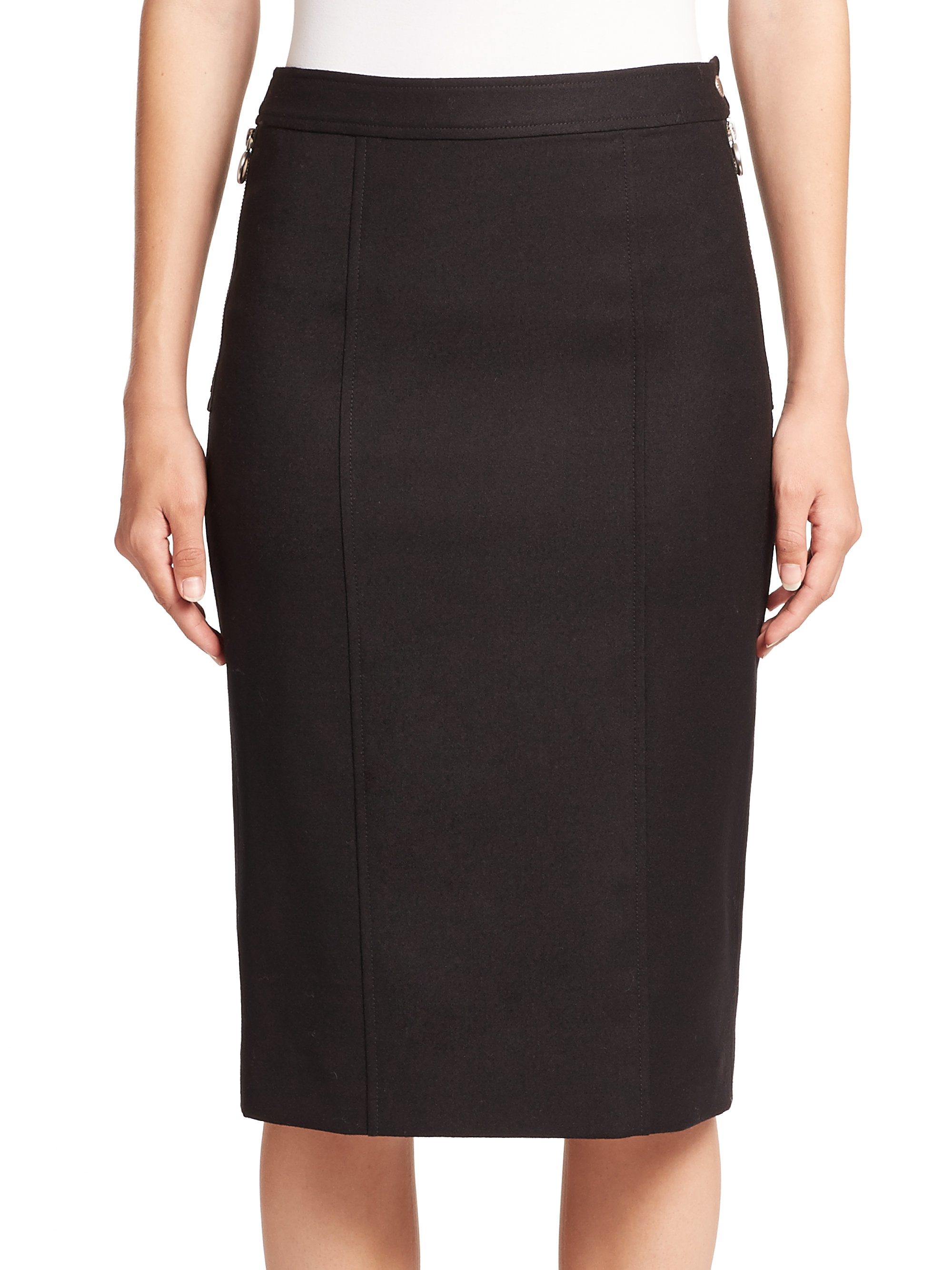 Marc by marc jacobs Stretch Wool Zip Pencil Skirt in Black | Lyst