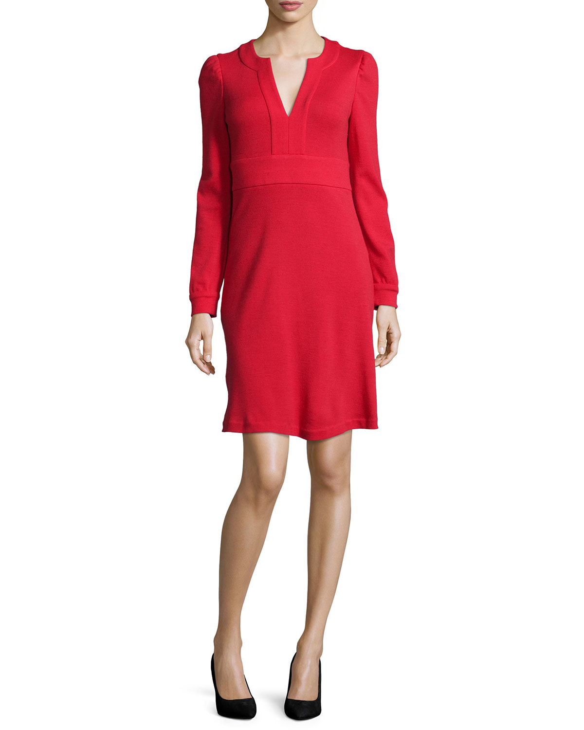 diane von furstenberg leyah long sleeve wool dress in red poppy lyst. Black Bedroom Furniture Sets. Home Design Ideas