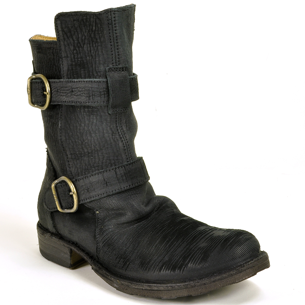 fiorentini baker buckled distressed leather boots in black lyst. Black Bedroom Furniture Sets. Home Design Ideas