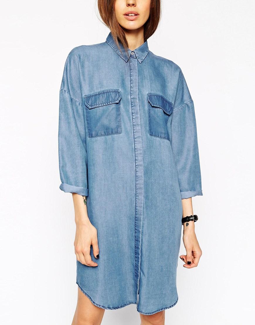 Oversized Jean Shirt Dress Exclusive Range 99820 Ebeac Zamzaam