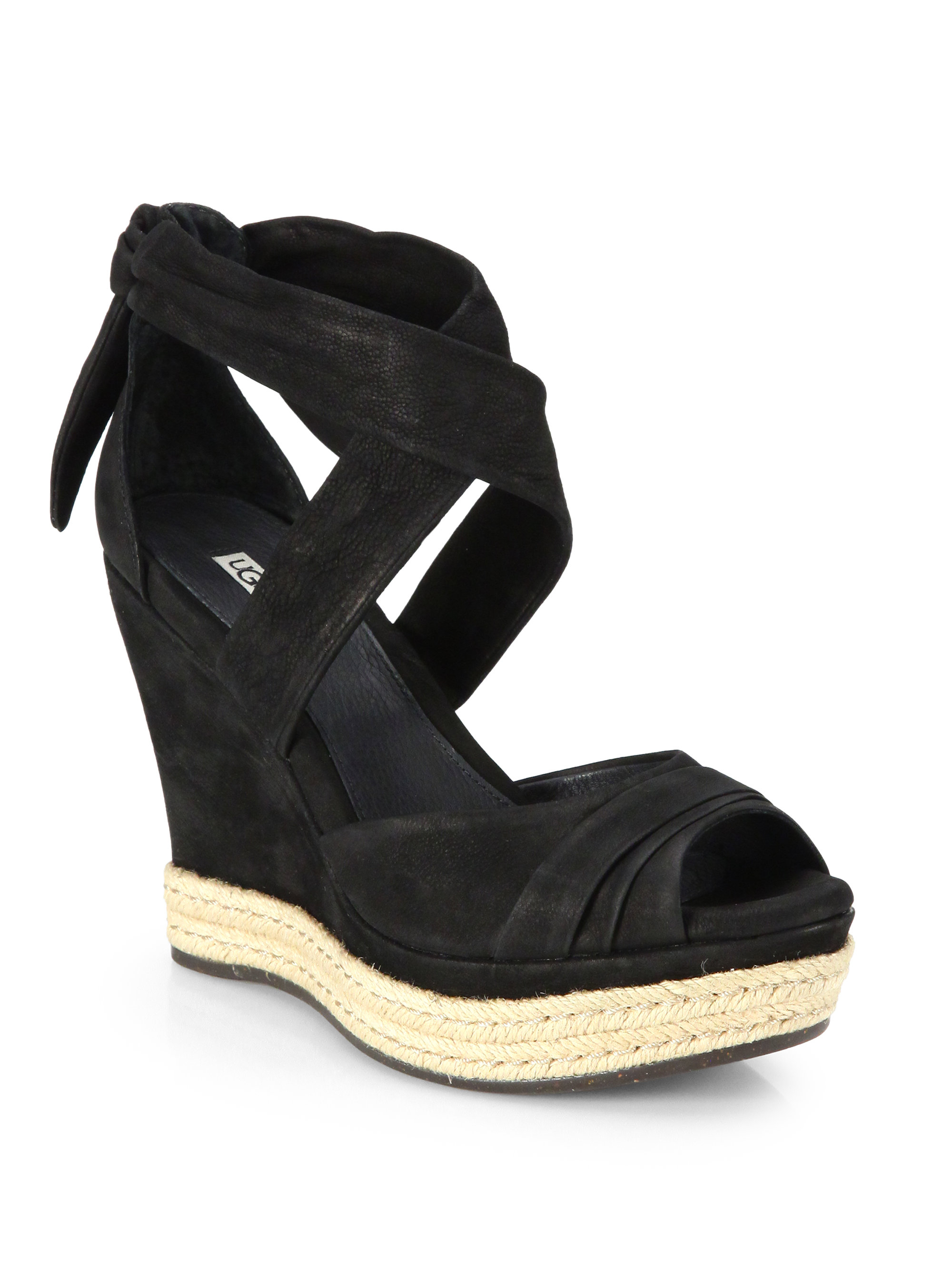 Ugg Lucy Suede Tie Up Wedge Sandals In Black Lyst