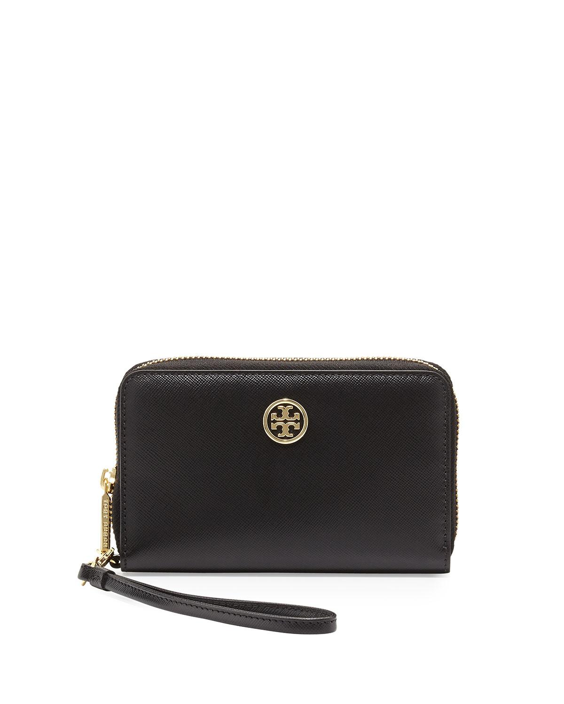1abb2f99c87 Lyst - Tory Burch Robinson Smartphone Wristlet Wallet in Black
