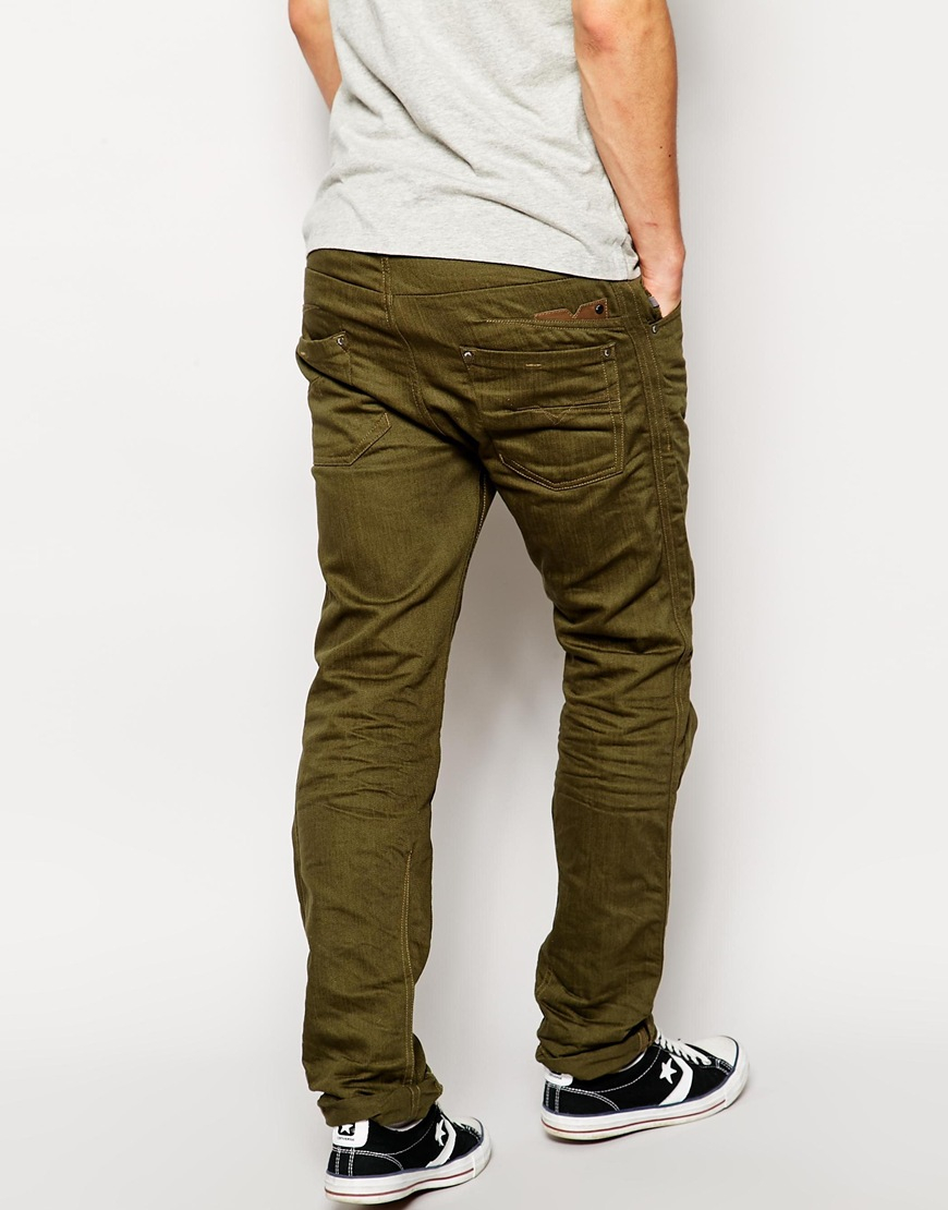 Olive Green Skinny Jeans Men