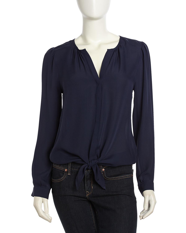 Lyst Joie Longsleeve Silk Tie Blouse Dark Navy In Blue