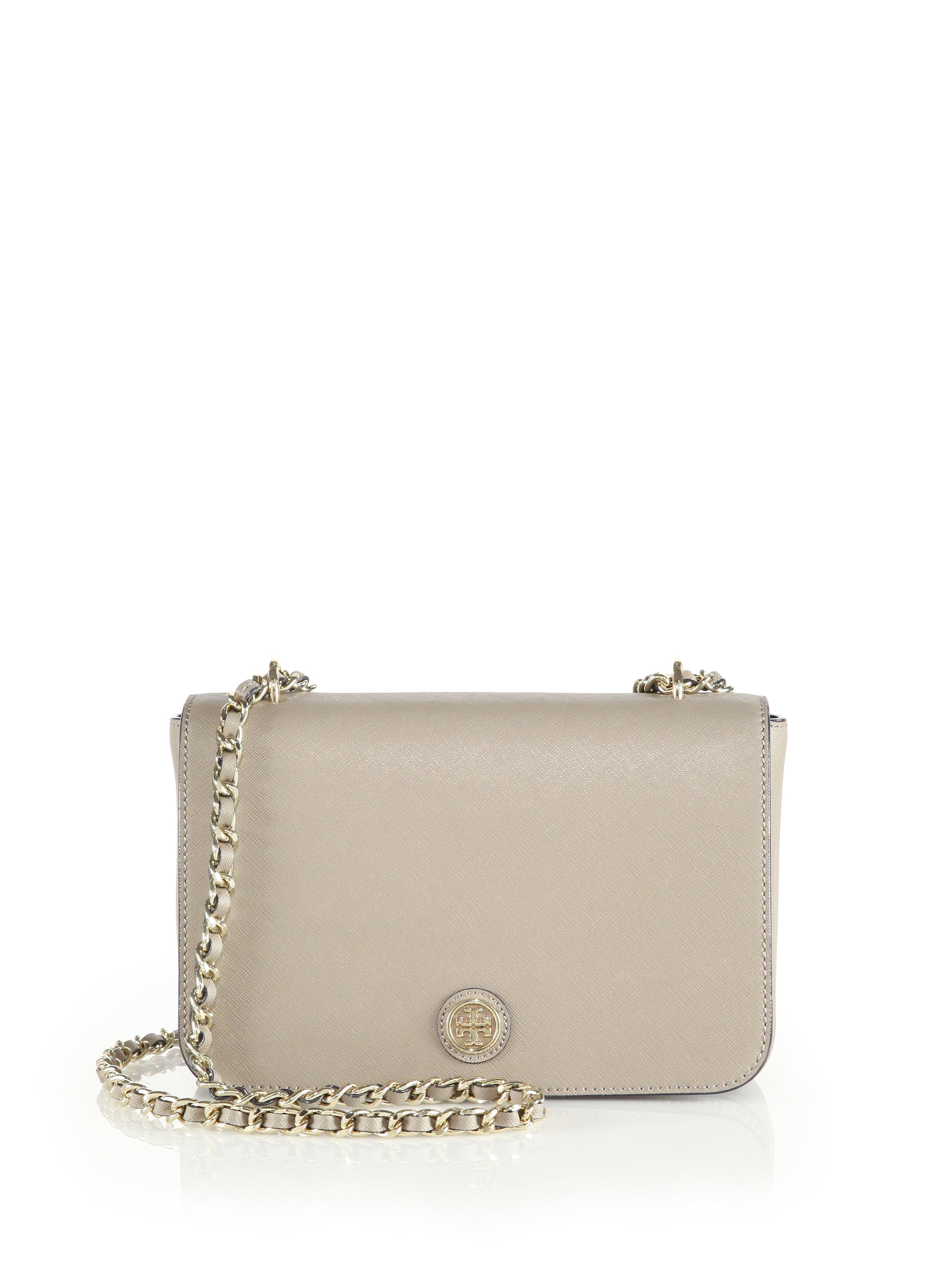 7b07328c4330 Lyst - Tory Burch Robinson Saffiano Leather Chain Shoulder Bag in Gray