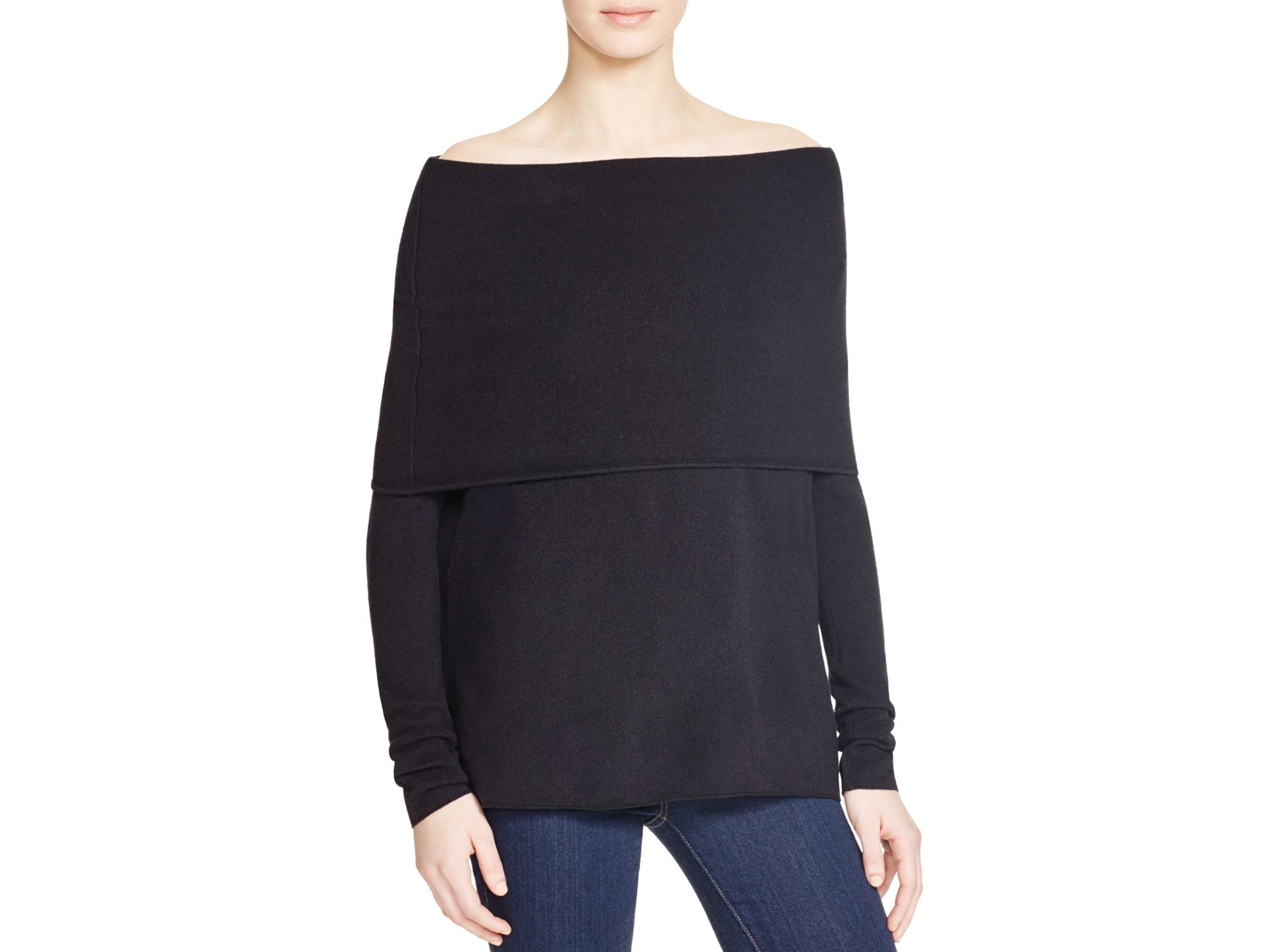 Vince Off-the-shoulder Cashmere Sweater in Black | Lyst