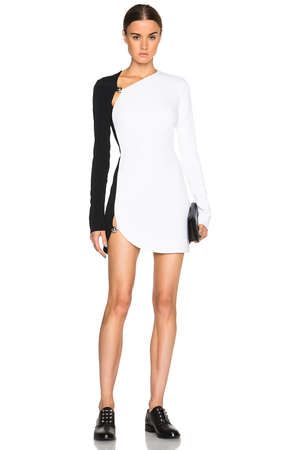 Lyst Mugler Bi Color Fitted Cady Mini Dress In Black