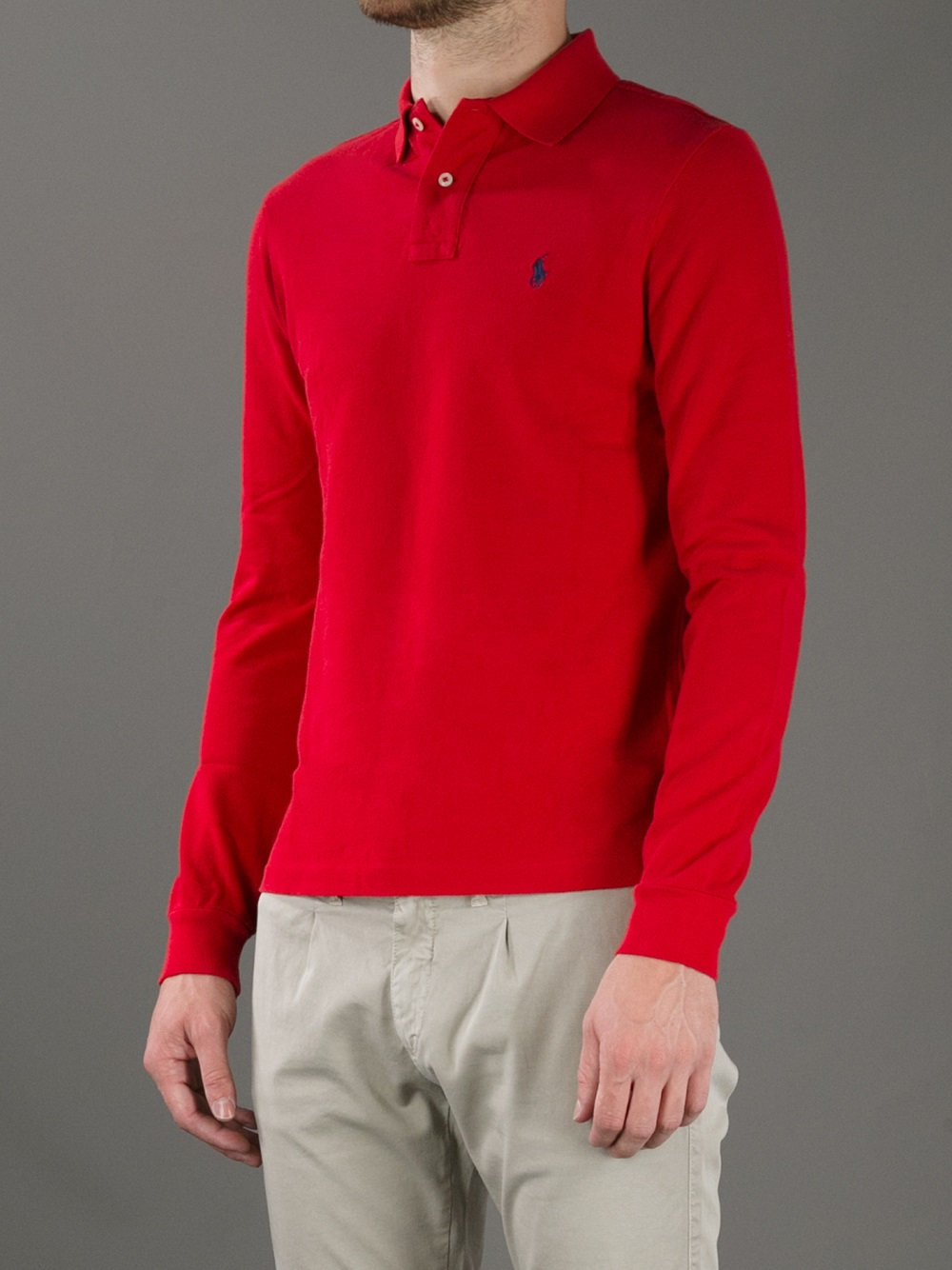 Lyst Polo Ralph Lauren Long Sleeve Polo Shirt In Red For Men