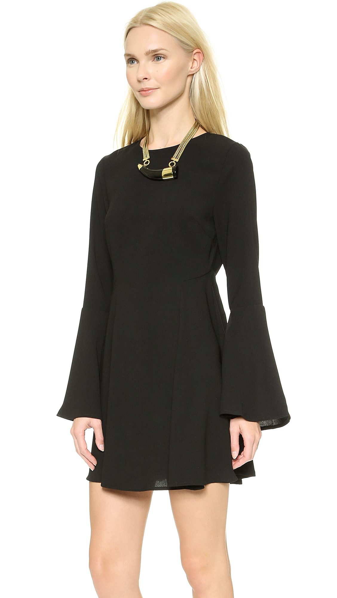 Lyst Re Named Solid Bell Sleeve Dress Red In Black