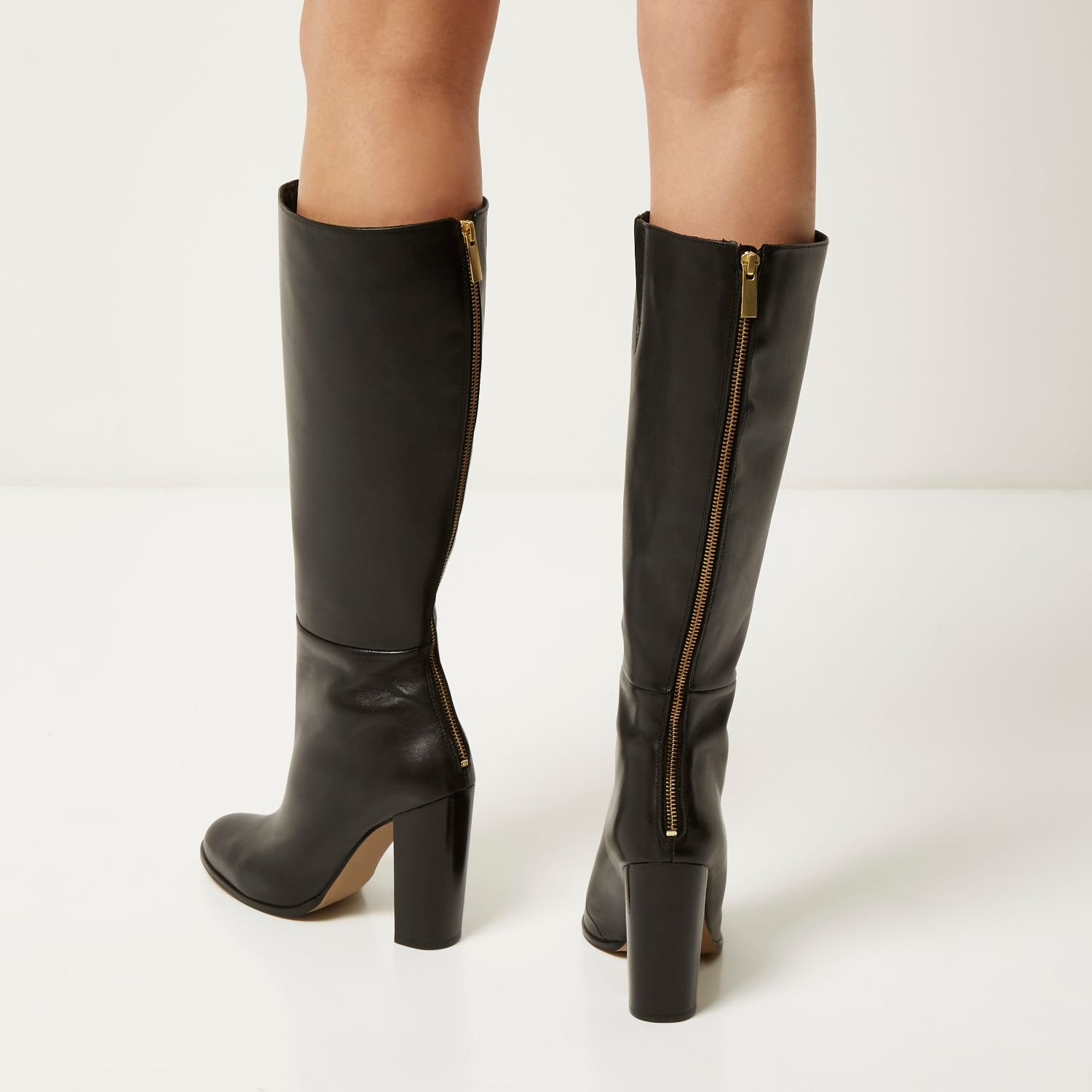 27aac6c02f4 River Island Black Leather Knee High Heeled Boots in Black - Lyst