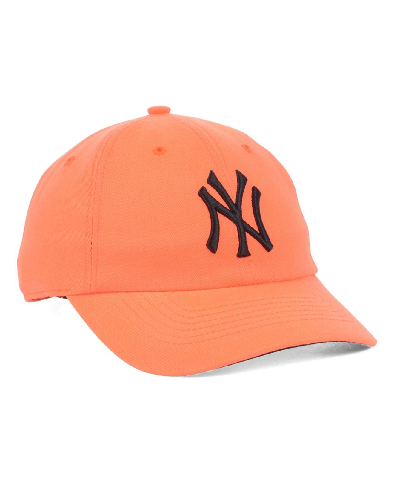 088054a65c6 Lyst - 47 Brand Women S New York Yankees Neon Clean Up Cap in Orange