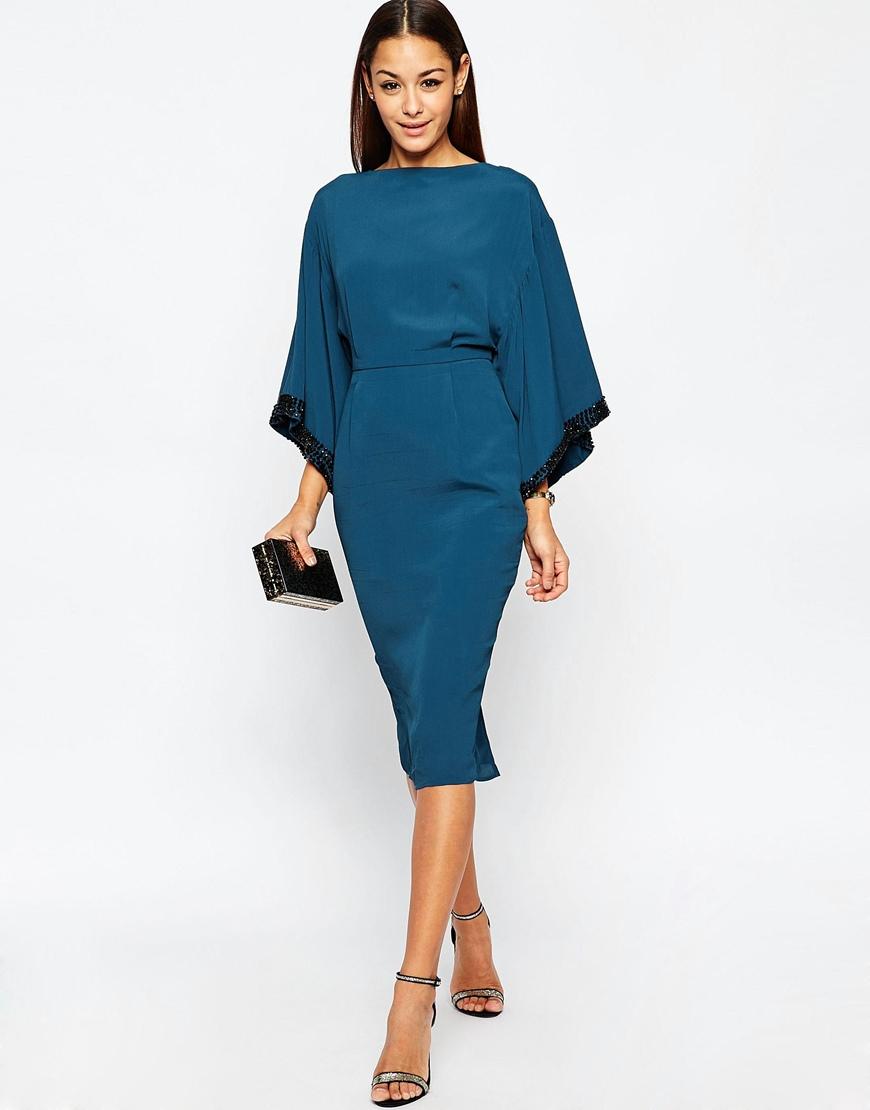 lyst  asos embellished trim kimono midi dress in blue